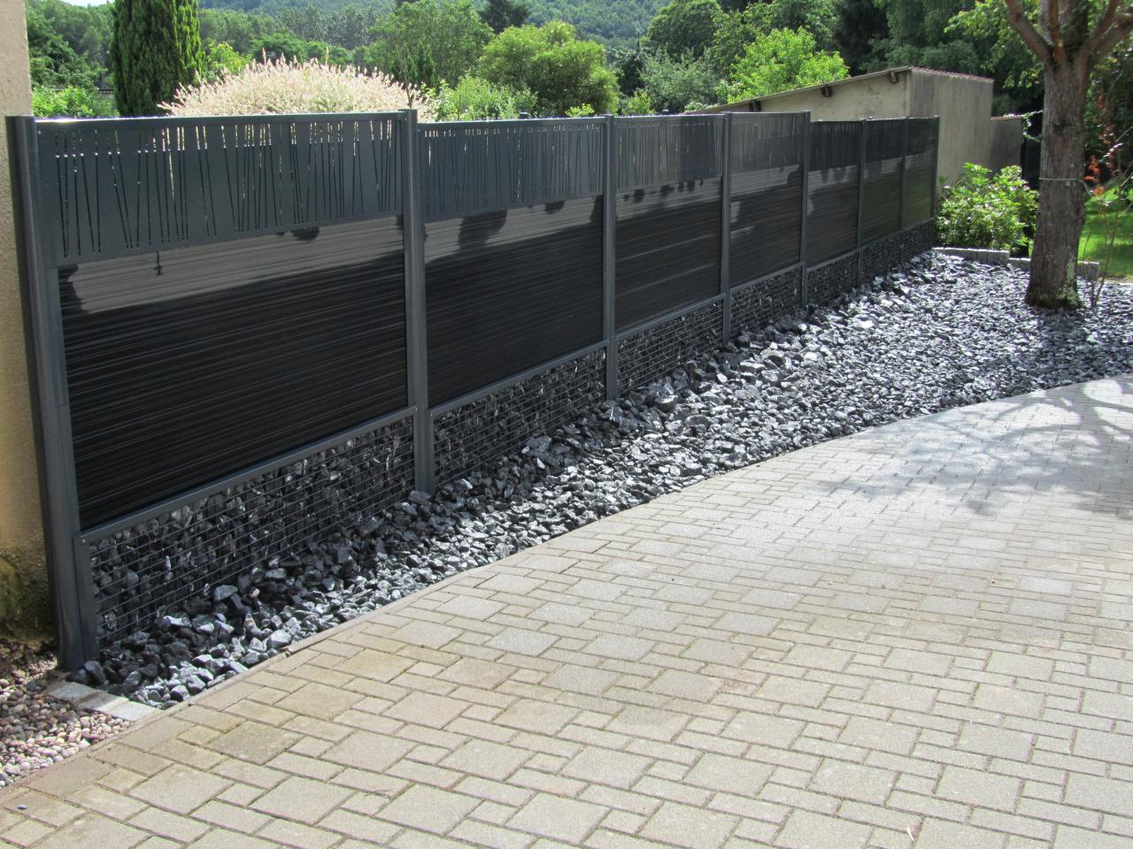 Cl ture gabion et lame composite Cloture composite
